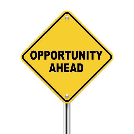3d ilustración de roadsign amarillo de oportunidades por delante aislados sobre fondo blanco Ilustración de vector