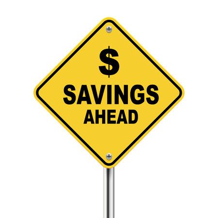 3d Illustratie van de besparingen vooruit verkeersbord geïsoleerd op witte achtergrond