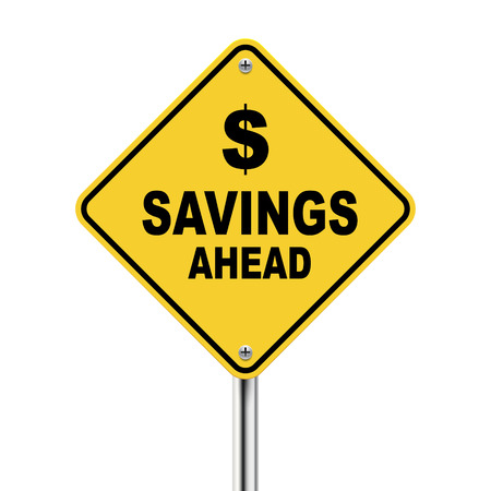 3d Illustration of savings ahead road sign isolated on white background Ilustração