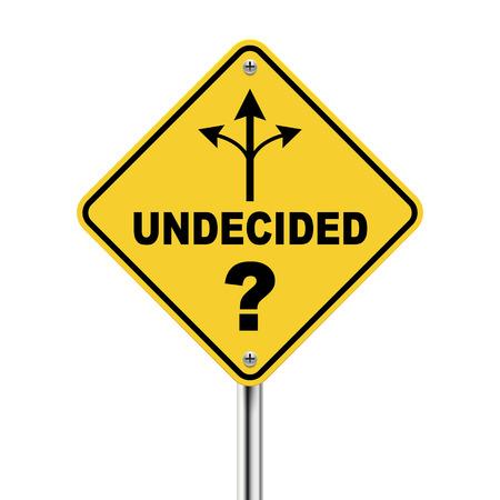 indeciso: 3d se�al de tr�fico indecisos con tres formas diferentes aislados sobre fondo blanco