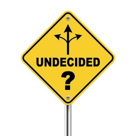 3d undecided road sign with three different ways isolated on white background Illustration