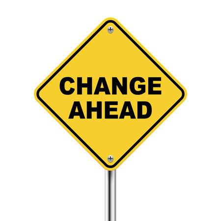 3D-afbeelding van de gele bord van verandering vooruit geïsoleerd op de witte achtergrond Stockfoto - 29937744