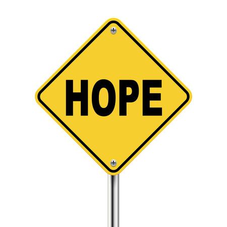 hopeful: 3d illustration of yellow roadsign of hope isolated on white background