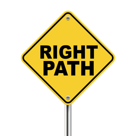 righteous: 3d illustration of yellow roadsign of right path isolated on white background Illustration