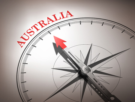 abstract compass needle pointing the destination Australia in red and white tones