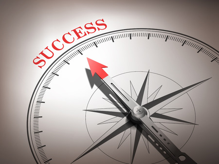 abstract compass with needle pointing the word success in red and white tones  Ilustracja