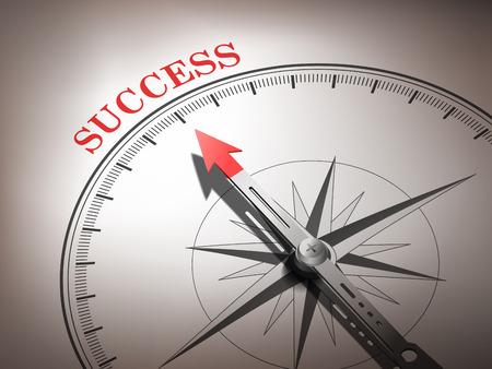 abstracte kompas met naald naar het woord succes in rode en witte tinten