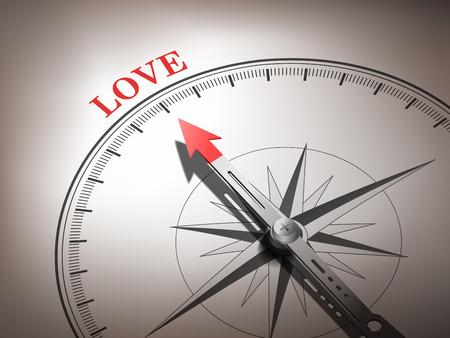 Brújula abstracta con aguja apuntando la palabra amor en tonos rojos y blancos Foto de archivo - 29937869