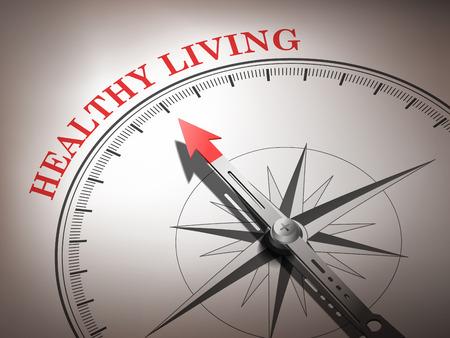 Brújula abstracta con aguja hacia la palabra de vida saludable en tonos rojos y blancos Foto de archivo - 29937870