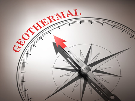 geothermal: abstract compass with needle pointing the word geothermal in red and white tones