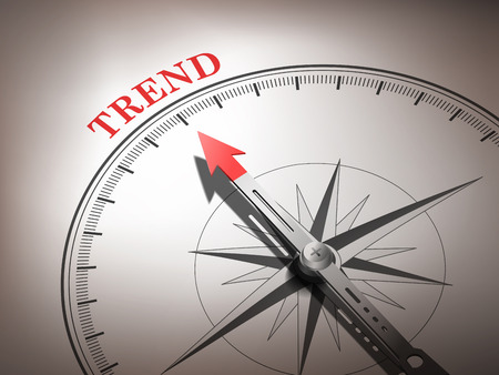 council: abstract compass with needle pointing the word trend in red and white tones