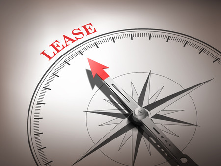 lessee: abstract compass with needle pointing the word lease in red and white tones Illustration