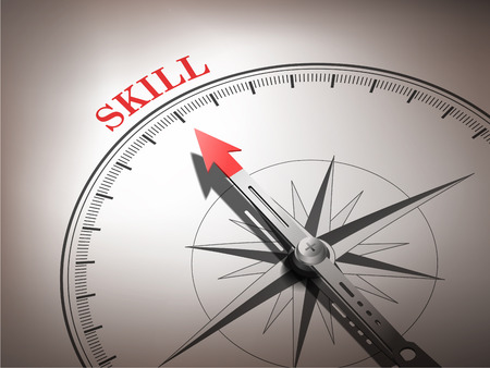 abstract compass needle pointing the word skill in red and white tones Vector
