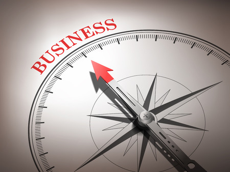 image consultant: abstract compass needle pointing the word business in red and white tones