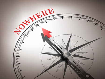 modern existence: abstract compass needle pointing the word nowhere in red and white tones