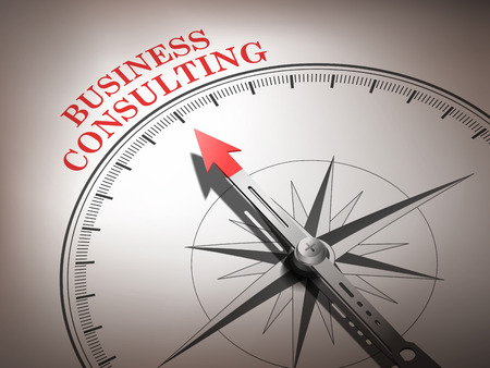 image consultant: abstract compass needle pointing the word business consulting in red and white tones Illustration