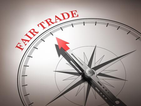 abstrakte Kompassnadel zeigt das Wort fairen Handel in Rot-und Weißtönen