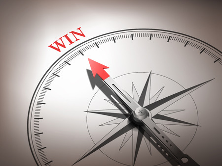 fortunate: abstract compass needle pointing the word win in red and white tones