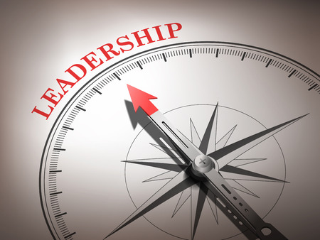 follower: abstract compass needle pointing the word leadership in red and white tones