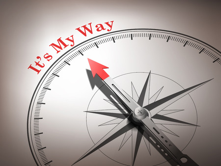 different goals: abstract compass needle pointing the word its my way in red and white tones