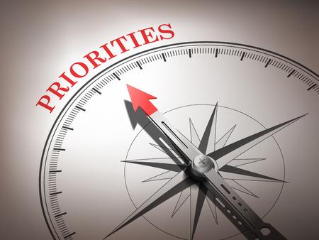 prioridades: abstracto br�jula aguja apuntando las palabras prioridades en tonos rojos y blancos