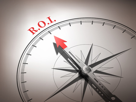 abstract compass needle pointing the word R.O.I. in red and white tones Illustration