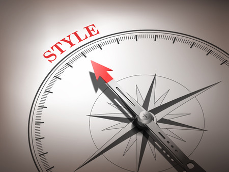 the top model: abstract compass needle pointing the word style in red and white tones Illustration