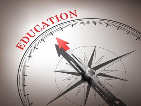 빨간색과 흰색 음색에 단어 교육을 가르키는 추상 나침반 바늘