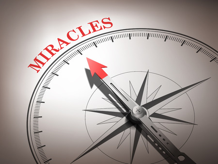 miracles: abstract compass needle pointing the word miracles in red and white tones Illustration