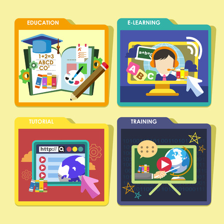 web services: flat design icons set of tutorial, education, e-learning and training concepts