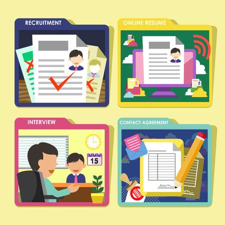 flat design icons set of HR recruitment process  topic Illustration