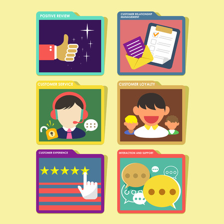 user experience design:  flat design of customer experience and service concept