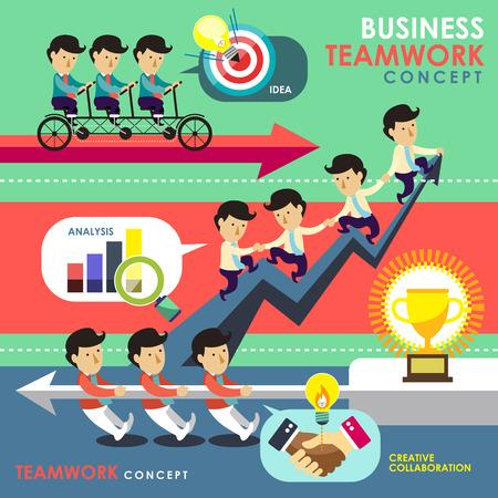 flat design of business teamwork concept topic  Ilustração