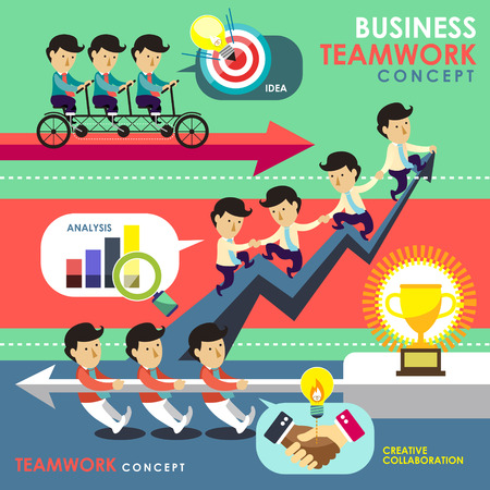 flat design of business teamwork concept topic  Illustration
