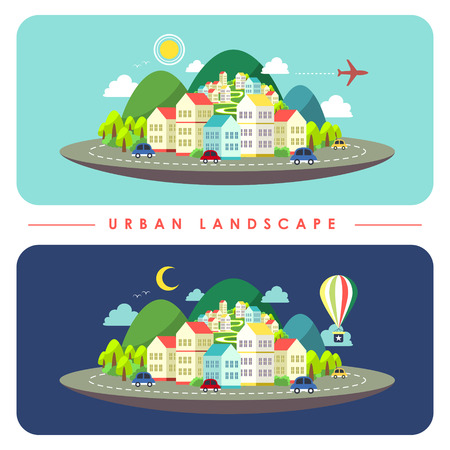 flat design of urban landscape illustration topic Vector