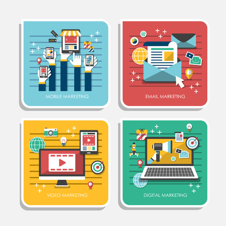 set of flat design concept icons for web and mobile phone marketing