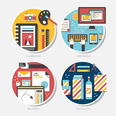 prototyping: set of flat design vector illustration for branding, illustration, packaging, web design Illustration