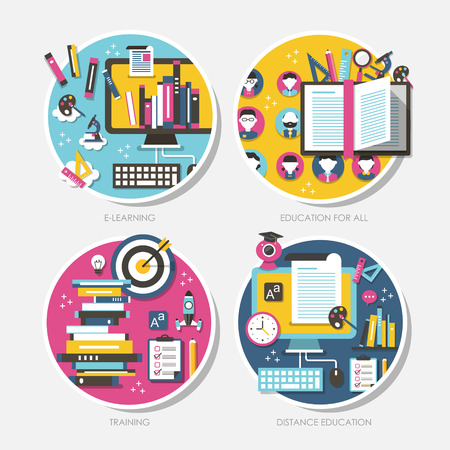 tutorials: vector set of flat design concept illustration for education for all, distance education, training, tutorials