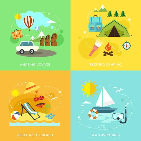 夏の旅の話題のフラットデザインアイコンセット