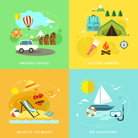 여름 여행 주제의 설정 평면 디자인 아이콘