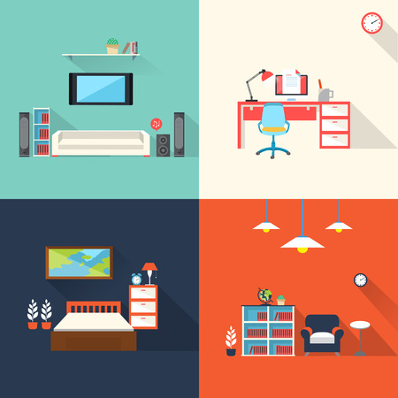creative furniture icons set flat design. Flat Design Icons Set Of Creative Furniture Topic Stock Vector - 30108915 123RF.com