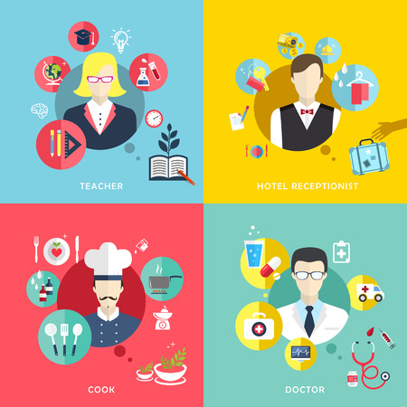 flat design icons set of people professions topic Vector