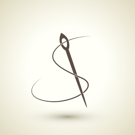 retro seamstress concept flat icon with needle and thread elements 矢量图像