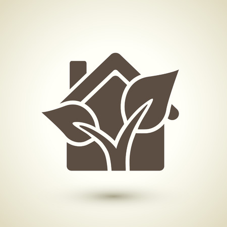 receptacle: retro ecology concept flat icon with house and plant elements