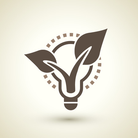 antipollution: retro ecology concept flat icon with bulb and plant elements