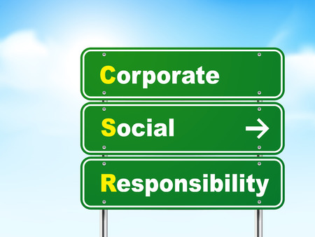 corporate social: 3d corporate social responsibility road sign isolated on blue background
