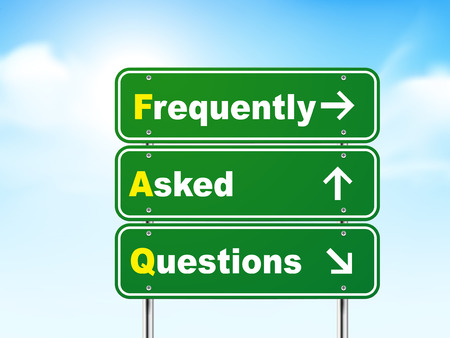 frequently: 3d frequently asked questions road sign isolated on blue background