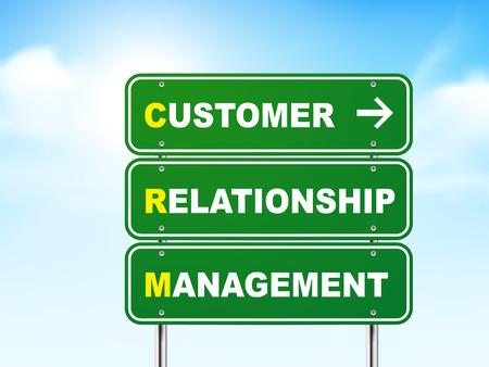 relationship management: 3d customer relationship management road sign isolated on blue background Illustration