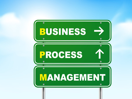 bpm: 3d business process management road sign isolated on blue background
