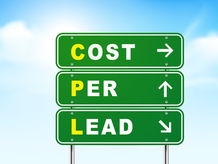 cpl: 3d cost per lead road sign isolated on blue background Illustration